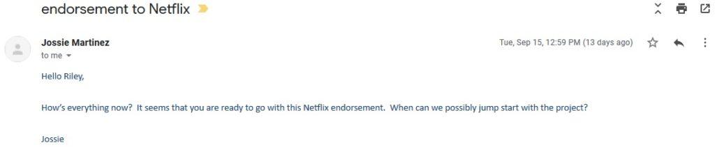 endorsement to Netflix